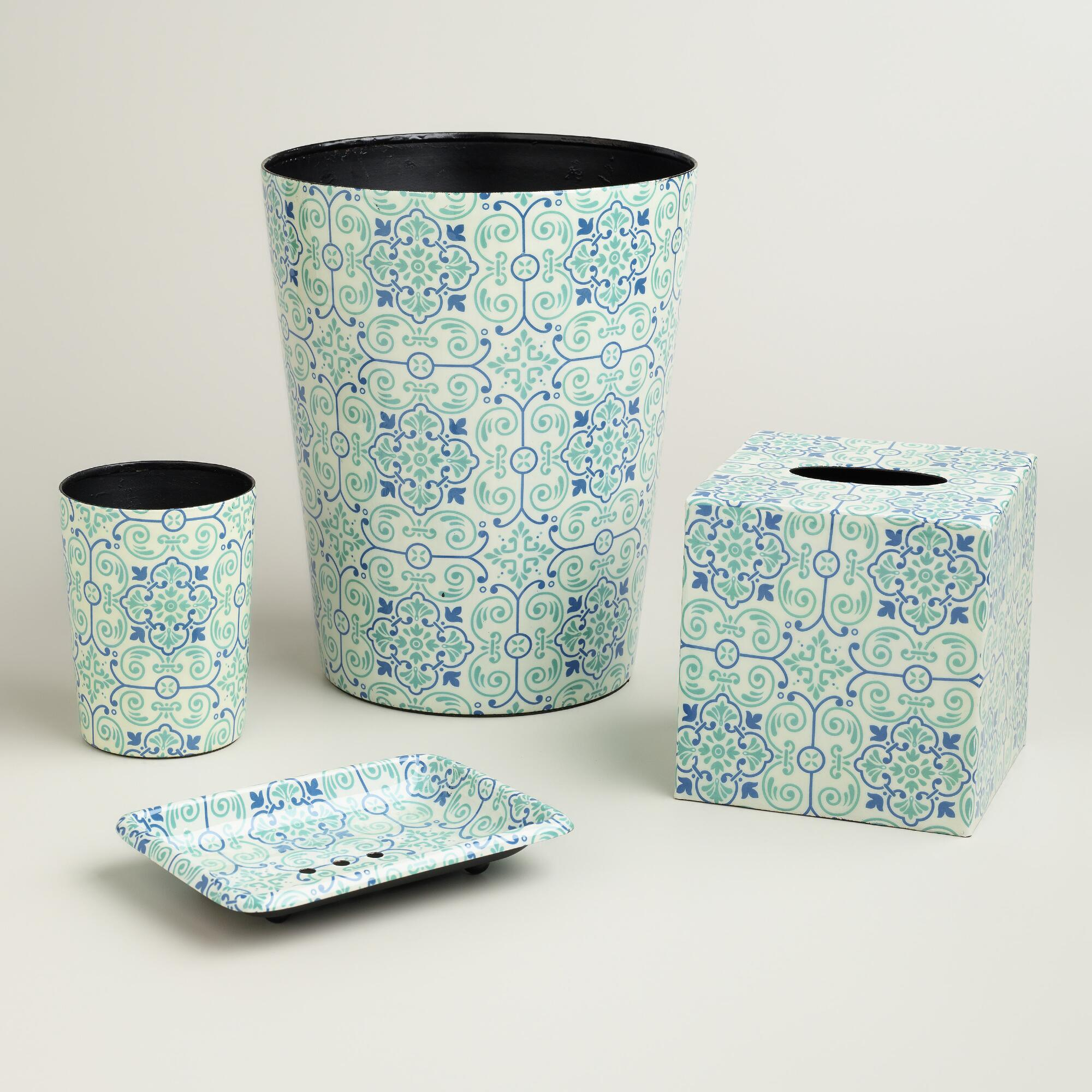 Blue turquoise tile bath collection world market for Turquoise bathroom bin