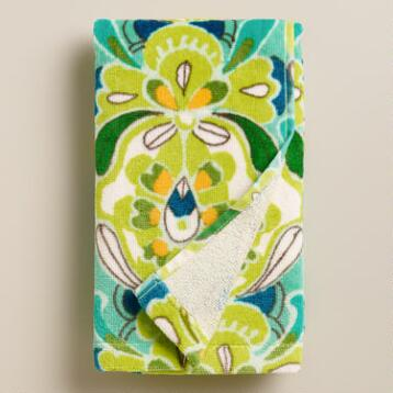 Blue and Green Tulip Hand Towel