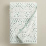 Aqua and Ivory Lattice Sculpted Bath Towel