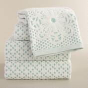 Aqua and Ivory Lattice Sculpted Bath Towel Collection