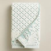 Aqua and Ivory Lattice Sculpted Hand Towel