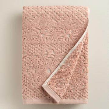 Blush and Taupe Lattice Sculpted Bath Towel