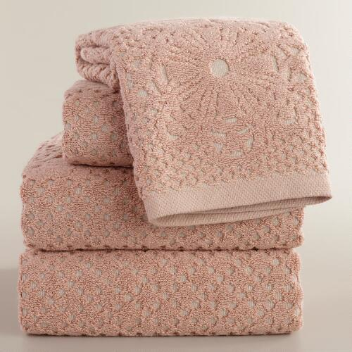 Blush and Taupe Lattice Sculpted Bath Towel Collection