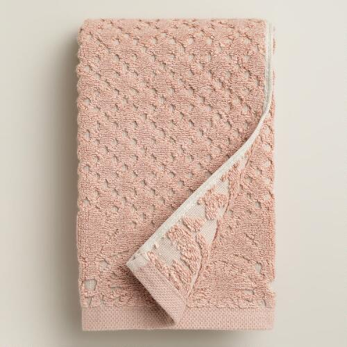 Blush and Taupe Lattice Sculpted Hand Towel