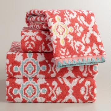 Coral Jacquard Natalia Bath Towel Collection