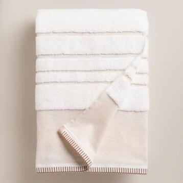Sculpted Stripe Linen Zoe Bath Towel