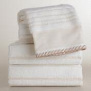 Sculpted Stripe Linen Zoe Bath Towel Collection