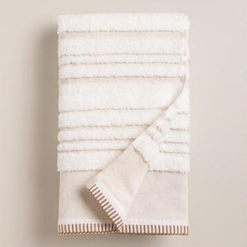 Sculpted Stripe Linen Zoe Hand Towel