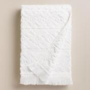 White Sculpted Aztec Bath Towel