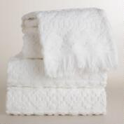 White Sculpted Aztec Bath Towel Collection