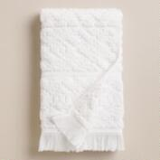 White Sculpted Aztec Hand Towel