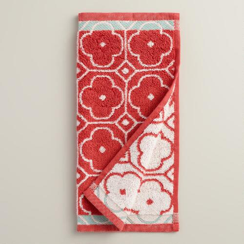 Coral Geo Jacquard Washcloth, Set of 2