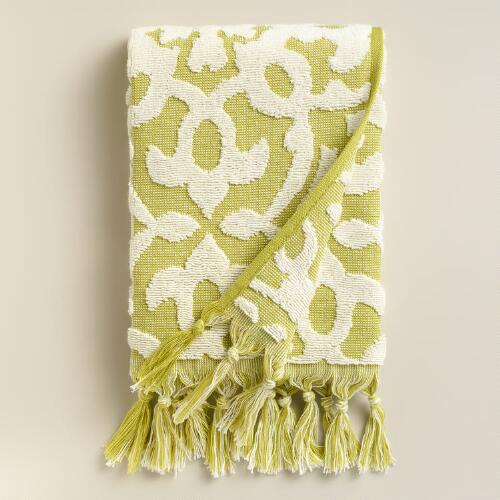 Green Sculpted Tile Soleil Hand Towel