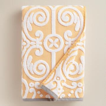 Yellow Sculpted Tile Riviera Bath Towel