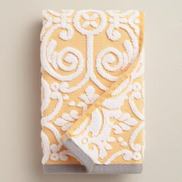 Yellow Sculpted Tile Riviera Hand Towel