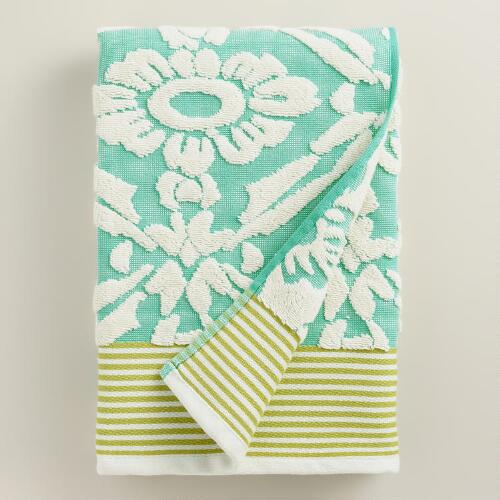 Aqua Sculpted Geo Daisy Bath Towel