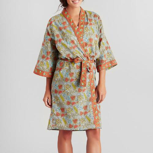 Coral and Gray Floral Kamala Robe