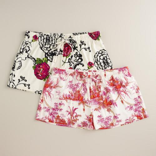 Patterned Pajama Shorts