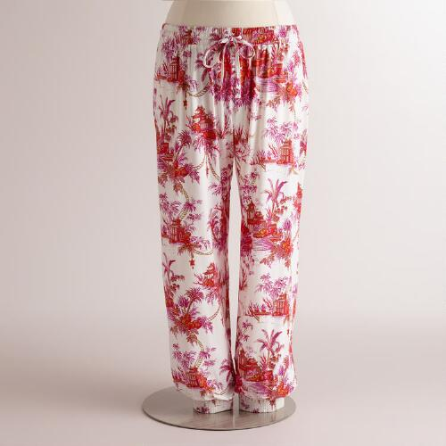 Pink and Orange Toile Pajama Pants