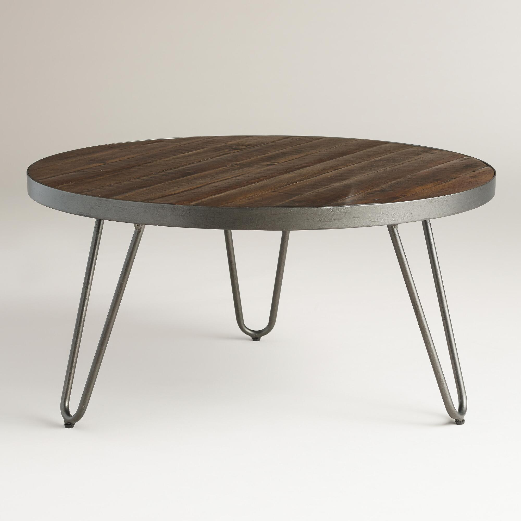 Round wood hairpin coffee table world market Round coffee tables