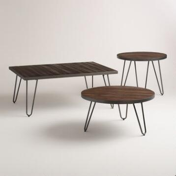 Wood Hairpin Occasional Table Collection