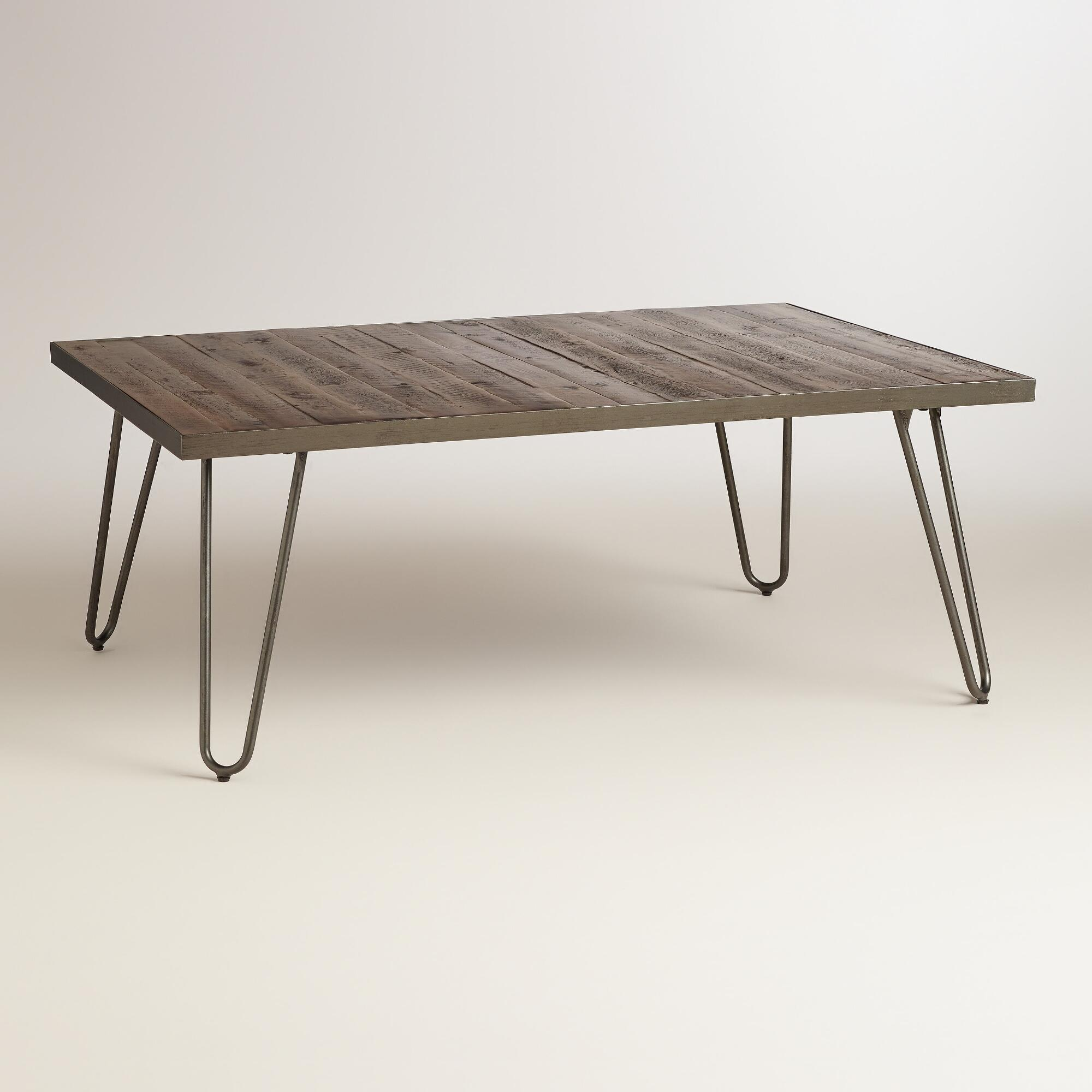 Round Wood Hairpin Coffee Table: Rectangular Wood Hairpin Coffee Table