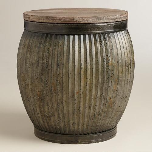 Zinc Metal and Wood Drum Accent Table