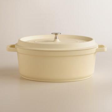 Ivory Oval Cast Aluminum Dutch Oven