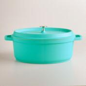 Aqua Oval Cast Aluminum Dutch Oven