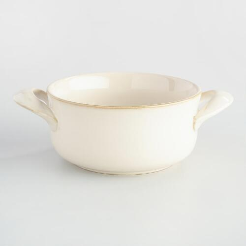 Ivory Rustic Double-Handled Soup Crocks, Set of 4