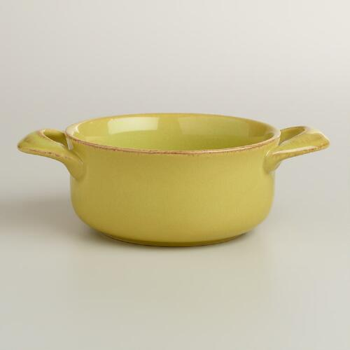 Green Rustic Double-Handled Soup Crocks, Set of 4