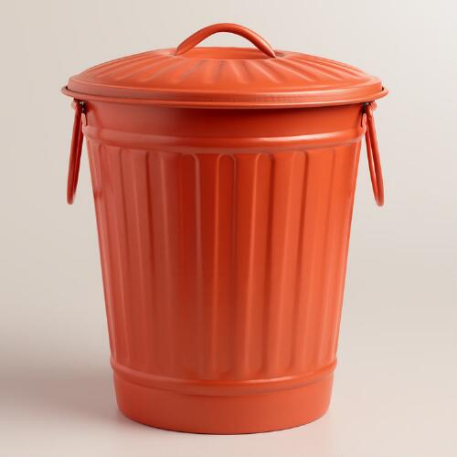 Large Coral Retro Metal Trash Can