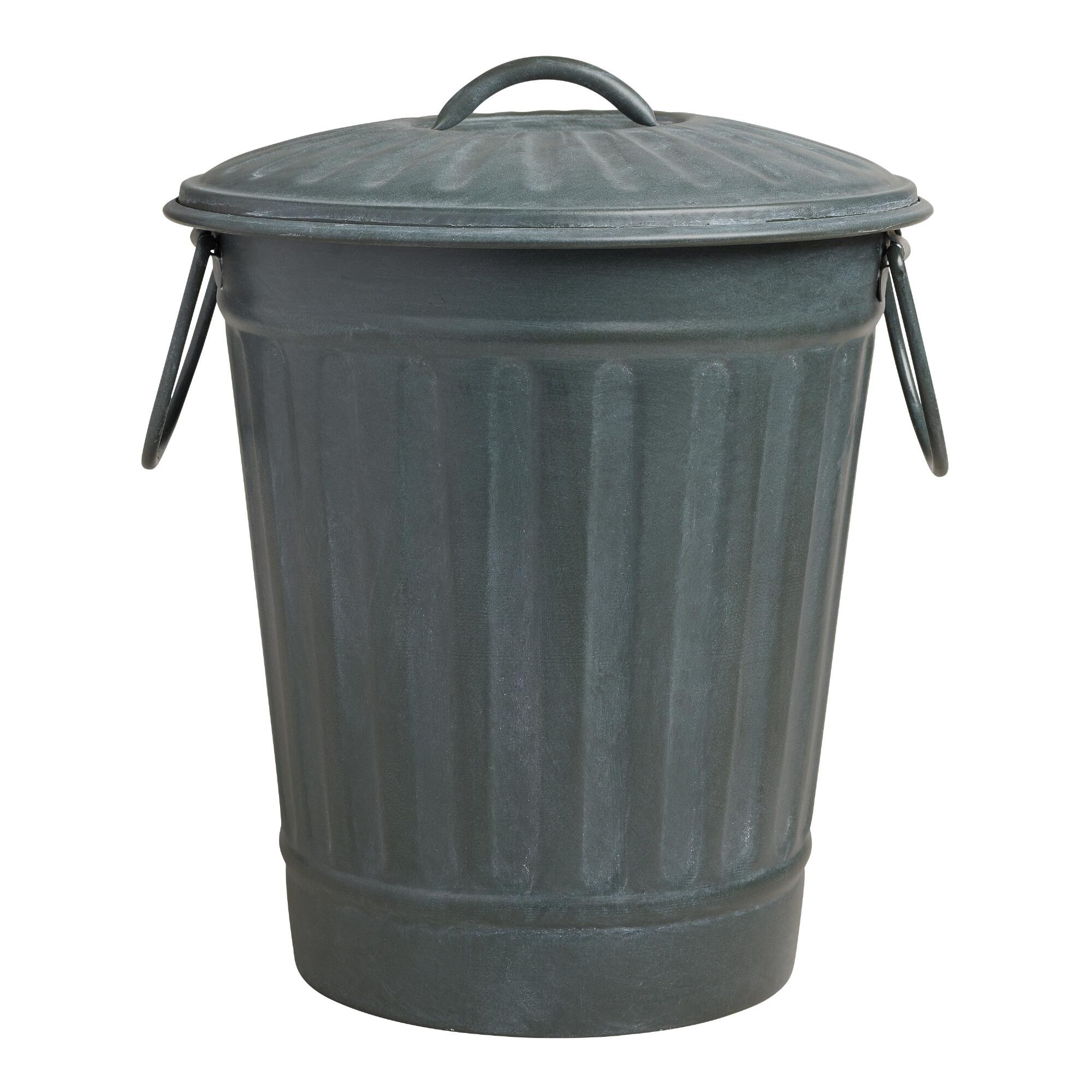 Aluminium Garbage Cans : Large steel gray retro metal trash can world market