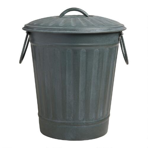 Large Steel Gray Retro Metal Trash Can