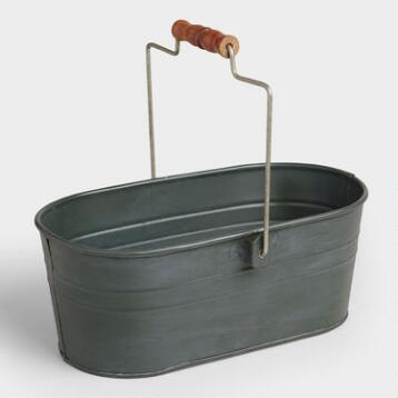 Steel Gray Metal Housekeeping Utility Bucket