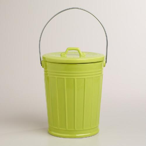 Green Ceramic Compost Bucket