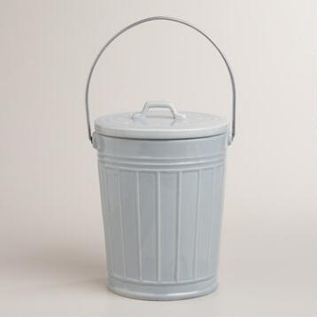 Shiny White Ceramic Compost Bucket