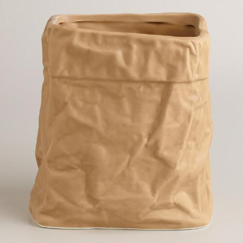 """Paper Bag"" Ceramic Utensil Holder"