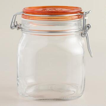 Large Orange Fido Clamp Jars, Set of 6
