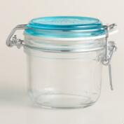Small Sky Blue Fido Clamp Jars, Set of 6