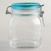 Large Sky Blue Fido Clamp Jars, Set of 6