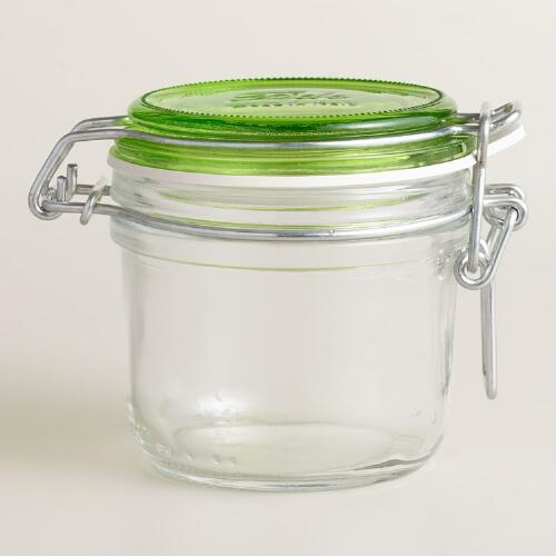 Small Green Fido Clamp Jars, Set of 6