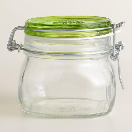 Medium Green Fido Clamp Jars, Set of 6
