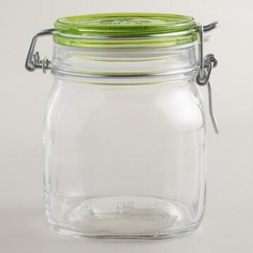 Large Green Fido Clamp Jars, Set of 6