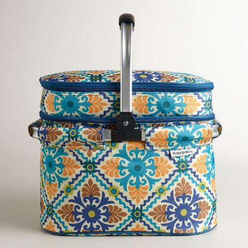 Barcelona Tile Insulated Double-Decker Tote Bag with Blanket