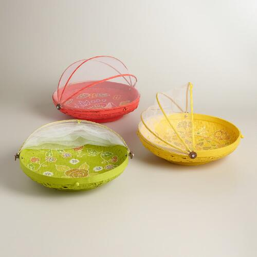 Large Hand-Painted Bamboo Food Domes, Set of 3