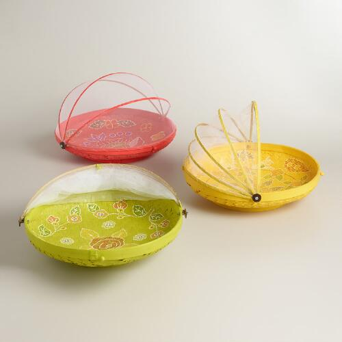 Extra-Large Hand-Painted Food Domes - Set of 3