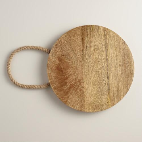 Round Wood Cutting Board with Rope Handles