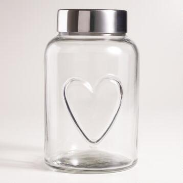 Heart Glass Storage Jar, Set of 4