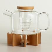 Lotus Glass Infuser Teapot with Bamboo Stand